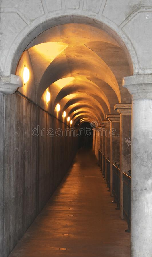 Tunnel lighted path royalty free stock photography