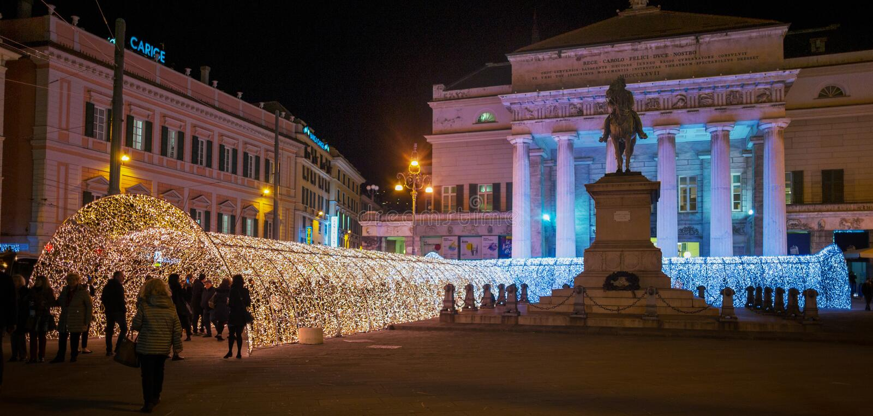 The tunnel of lights in De Ferrari Square of Genoa, Italy stock photo