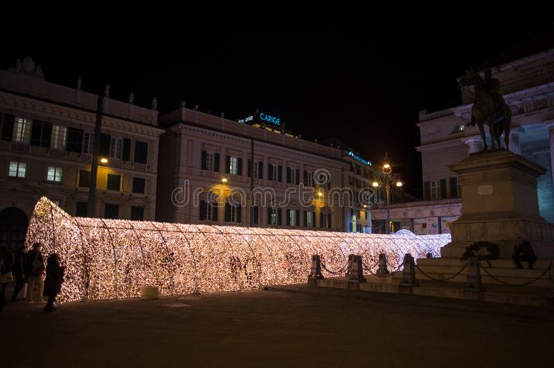 The tunnel of lights in De Ferrari Square of Genoa, Italy royalty free stock images
