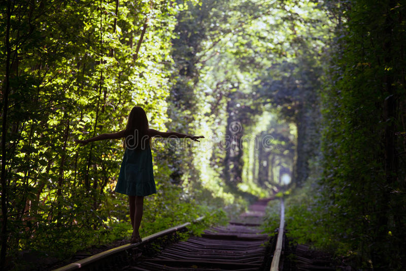 Tunnel of Love. Girl at the tunnel of Love at the Ukraine stock photography