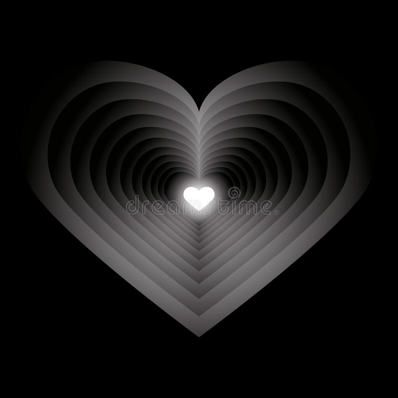 Tunnel from many hearts stock illustration