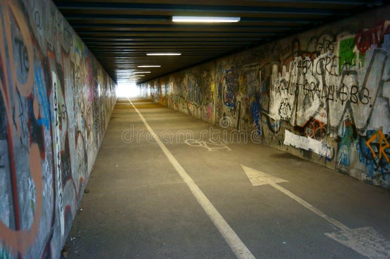 Tunnel med grafitti royaltyfri bild