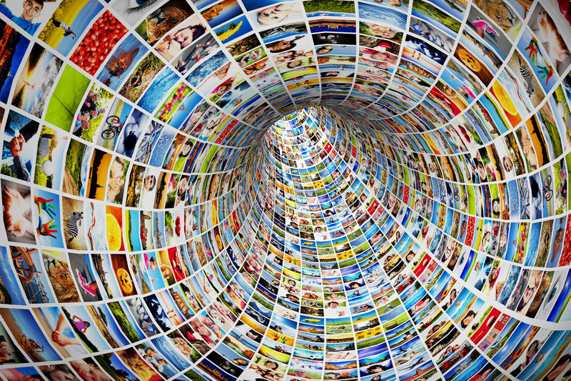 Tunnel of media, images, photographs. Tv, multimedia broadcast, streaming. All photos are mine stock illustration
