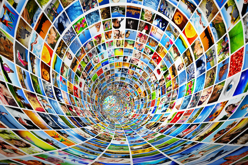 Tunnel of media, images, photographs. Tv, multimedia broadcast, streaming. All photos are mine vector illustration