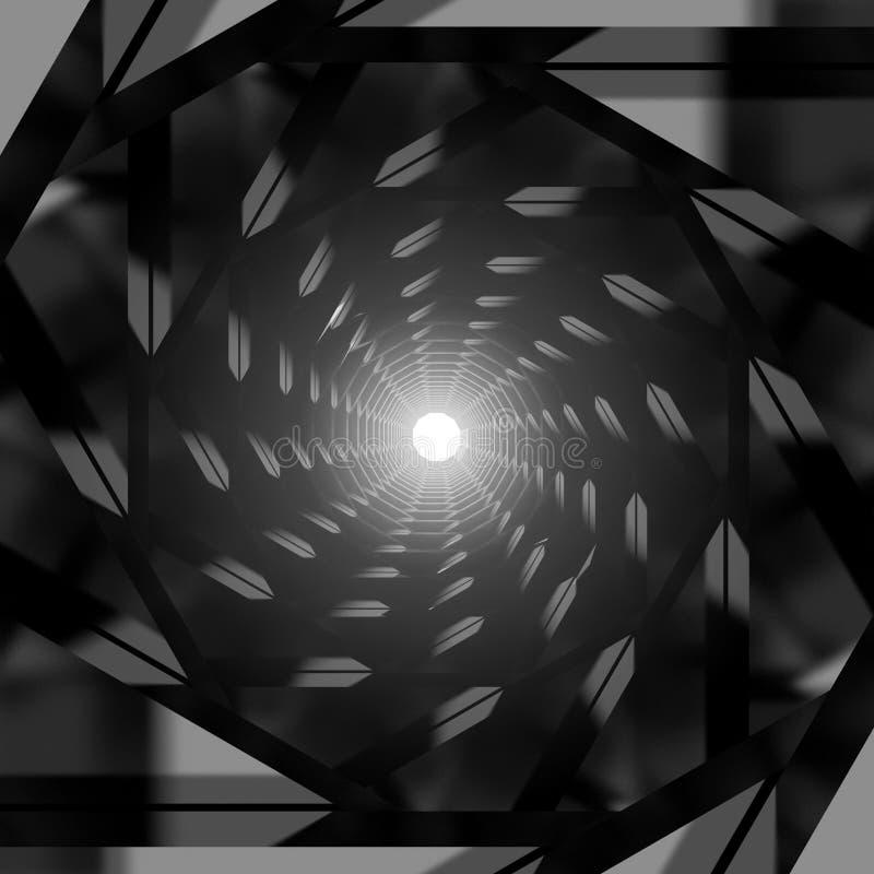 Tunnel metallico scuro astratto con luce intensa alla fine illustrazione vettoriale