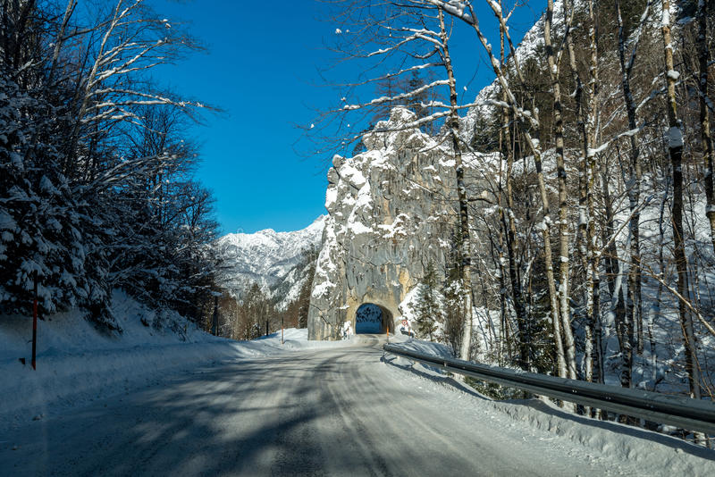 Tunnel in mountains stock photos
