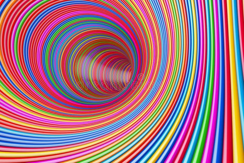 Tunnel multicolore psychédélique hypnotique de cercles rendu 3d illustration libre de droits