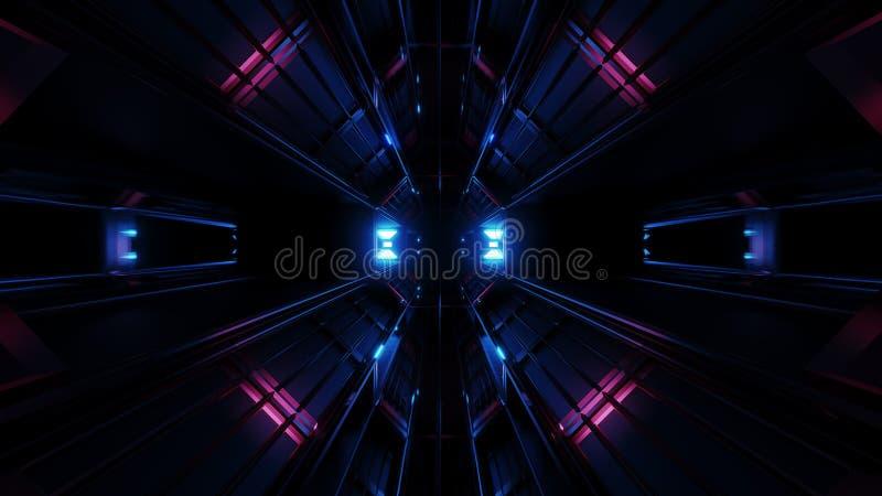 Tunnel nero scuro dello spazio con la rappresentazione d'ardore blu del manufatto 3d illustrazione vettoriale