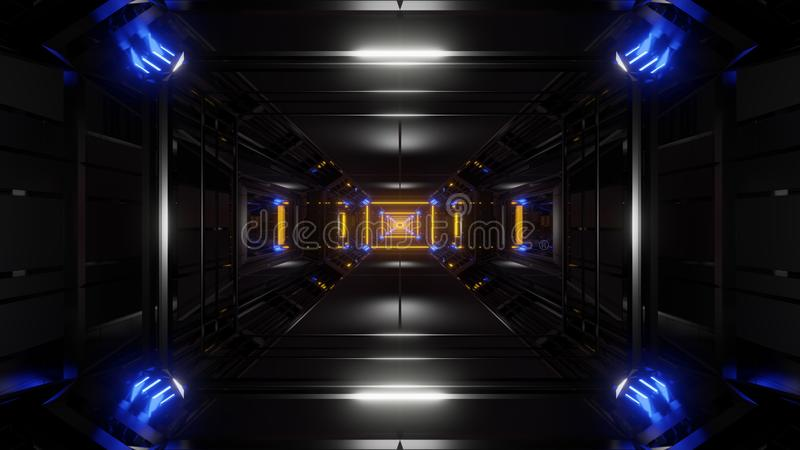 Tunnel noir foncé de l'espace avec les lumières rougeoyantes 3d rendant le fond illustration de vecteur