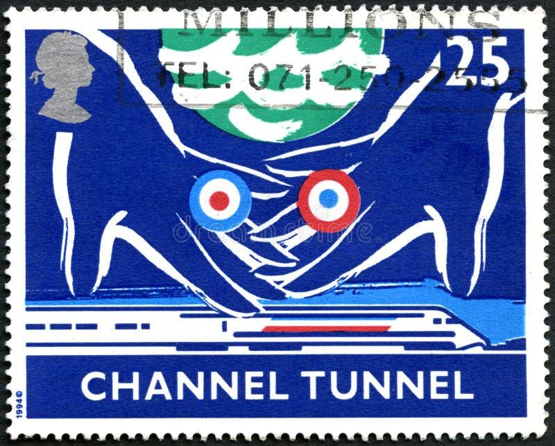Tunnel onder het Kanaal Britse Postzegel stock foto's