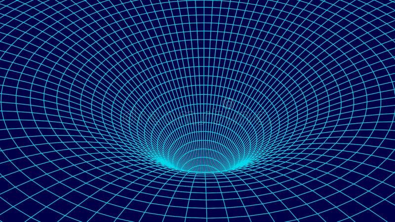 Tunnel ou trou du ver Grille de tunnel de surface 3D filaire photos stock