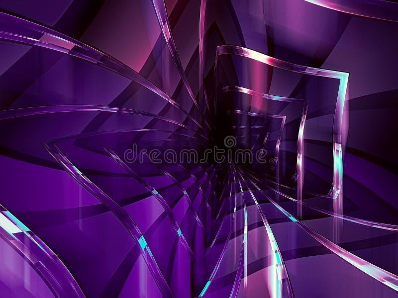 Tunnel porpora con le pareti lucide - illustrazione astratta di stile 3d di tecnologia illustrazione di stock