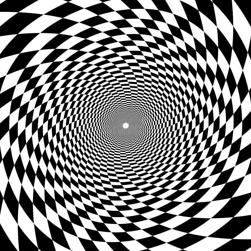 Tunnel psichedelico, modello della scacchiera in bianco e nero, briscola immagine stock libera da diritti