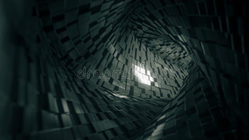 Tunnel quadrato astratto fatto dei mattoni rappresentazione 3d illustrazione di stock
