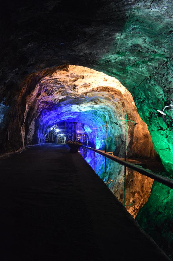 Tunnel of reflections and colors, nemocon salt mine, colombia stock photo