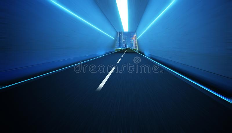 Tunnel road with neon light vector illustration