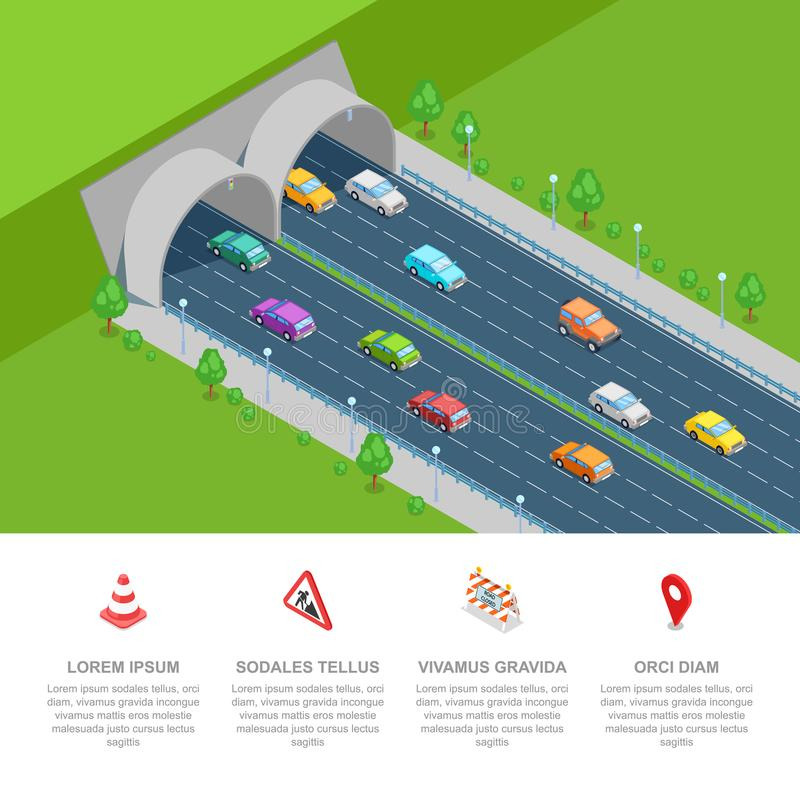 Tunnel road vector isometric 3D illustration. Business presentation infographic template. stock illustration