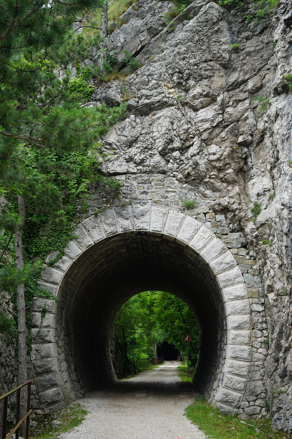 Tunnel in the rock royalty free stock photos