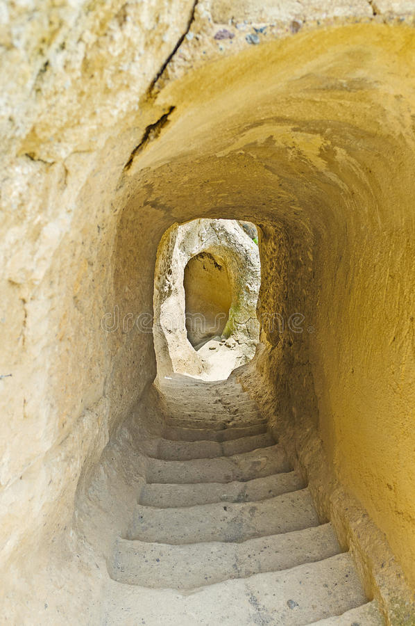 The tunnel in rock stock image