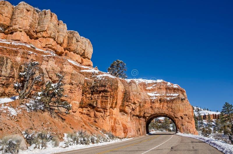 Tunnel rouge de canyon avec des glaçons pendant de la voûte images libres de droits