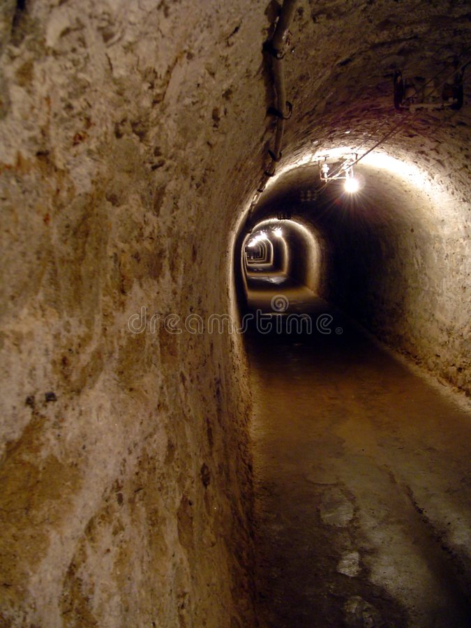Tunnel in a salt mine royalty free stock image