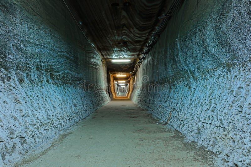 Tunnel in salt mine stock photos