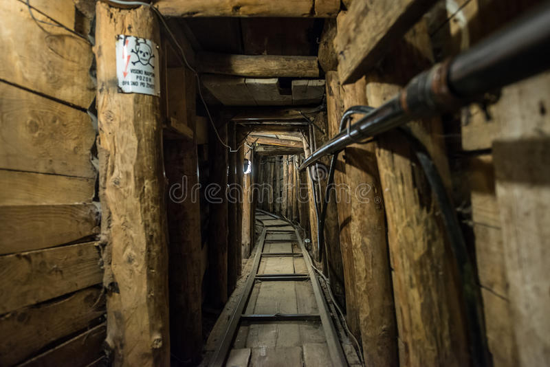 Tunnel in Sarajevo. Inside the Sarajevo Tunnel constructed during the Siege of Sarajevo stock photos