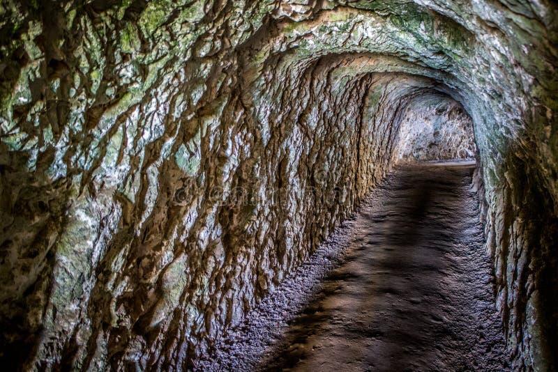 Tunnel scuro della caverna del passaggio pedonale del passeggero della roccia e della sporcizia immagini stock libere da diritti