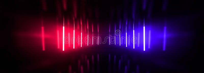 Tunnel sombre, couloir, pièce avec de la fumée, néon de lampe au néon, rouge et bleu photos libres de droits