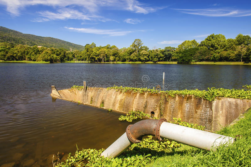 Tunnel spillway of lake stock image