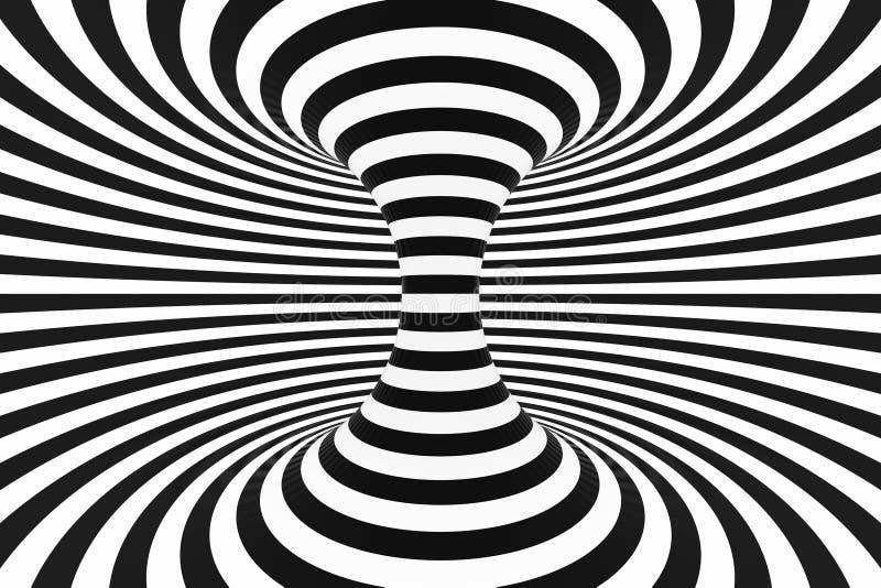 Tunnel spiralé noir et blanc Illusion optique hypnotique tordue rayée abrégez le fond 3d rendent illustration stock