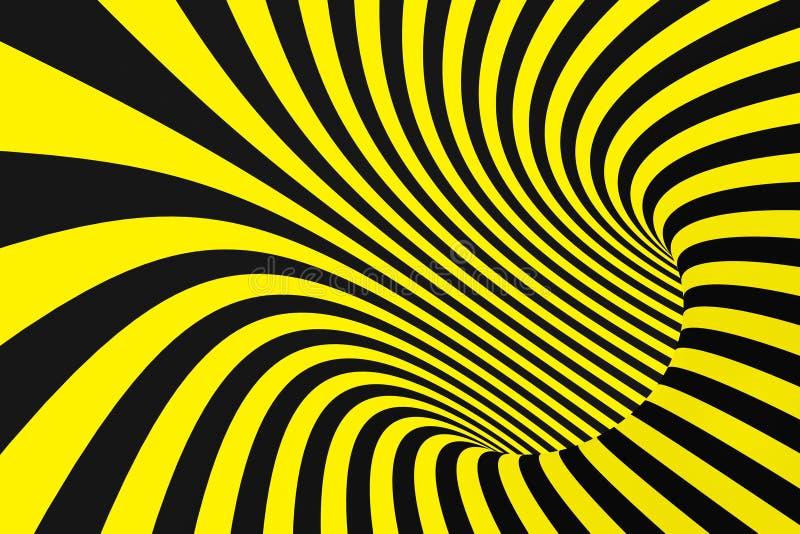 Tunnel a spirale nero e giallo dai nastri della polizia Illusione ottica ipnotica torta a strisce Fondo d'avvertimento di sicurez fotografia stock libera da diritti