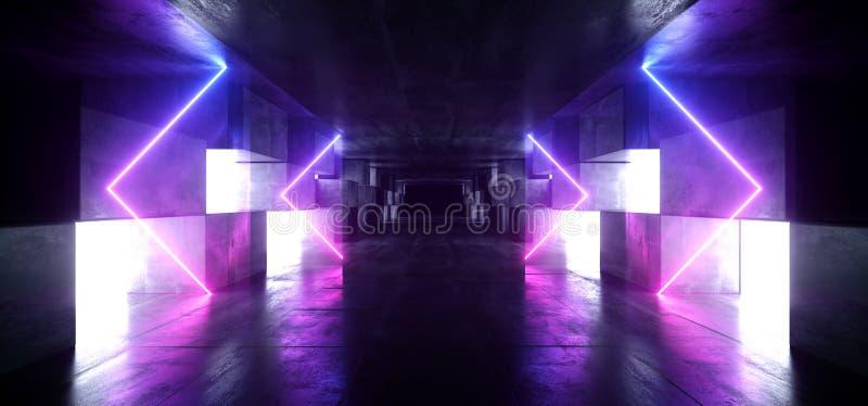 Tunnel-Studio-Stadiums-Bau-Garagen-Podium Neonlicht-Pfeil-Grafik glühendes purpurrotes blaues vibrierendes virtuelles Sci FI futu vektor abbildung