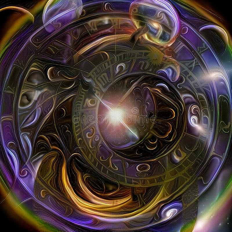 Tunnel of Time. Symbolic abstract painting. Astronomical clock and Tunnel of Time stock illustration