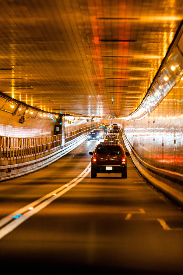 Tunnel traffic in New York stock images