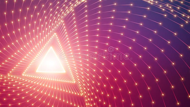 Tunnel triangolare infinito di vettore delle frecce Le frecce d'ardore formano i settori del tunnel Visualizzazione variopinta de royalty illustrazione gratis