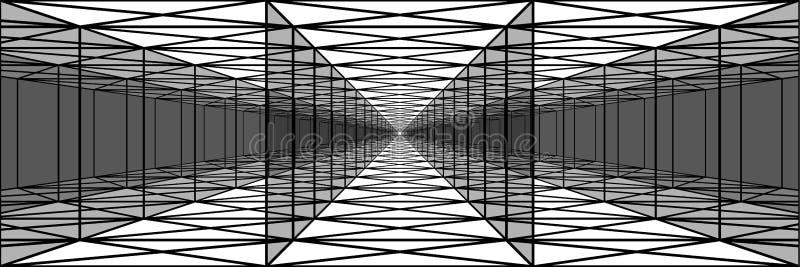 Tunnel triplo con le pareti trasparenti, corridoi lunghi, psychedeli illustrazione vettoriale
