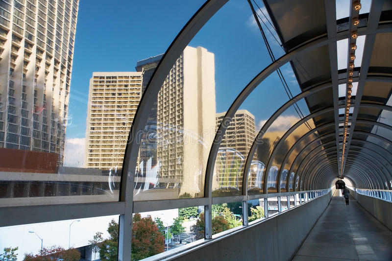 Tunnel between two buildings. Atlanta. stock photography