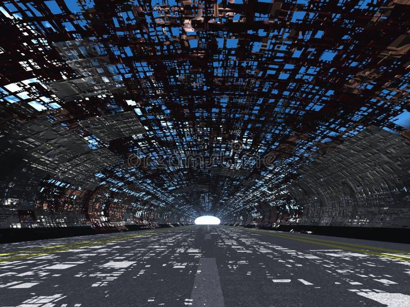 Tunnel und Asphalt zerstört lizenzfreie abbildung