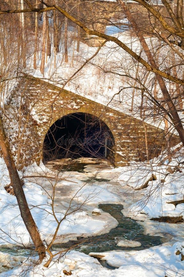 Tunnel und eisiger Strom lizenzfreies stockfoto