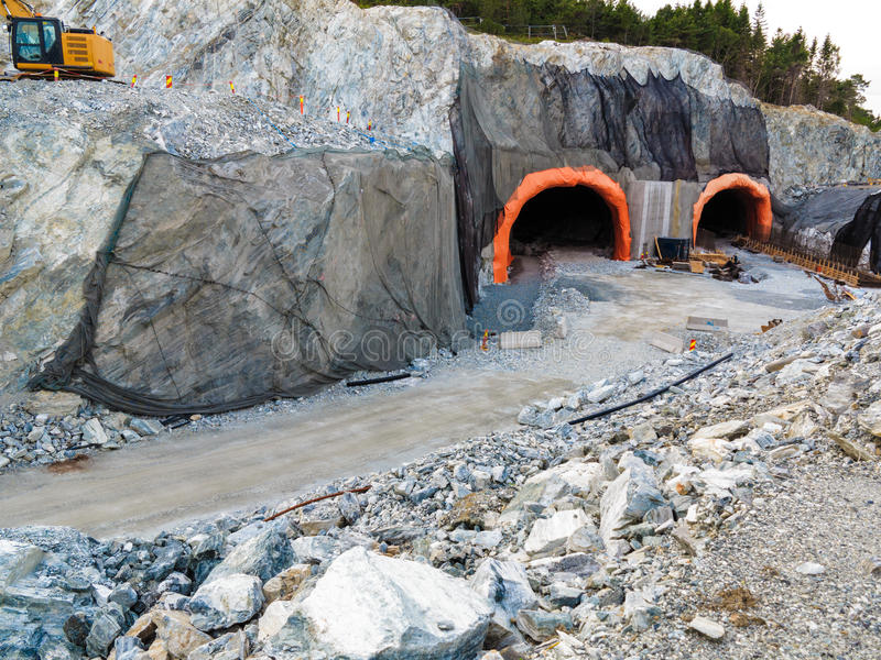 The tunnel under construction. stock image