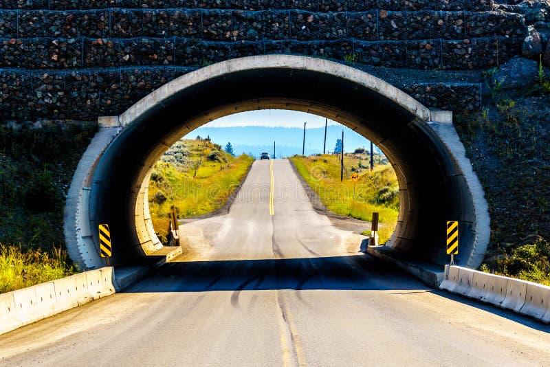 Tunnel unter Inks See-Straße nahe Kamloops, Britisch-Columbia, Kanada stockfotos