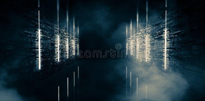 Tunnel vide et vieux abstrait, couloir, voûte, chambre noire, illumination au néon, fumée épaisse, brouillard enfumé illustration de vecteur