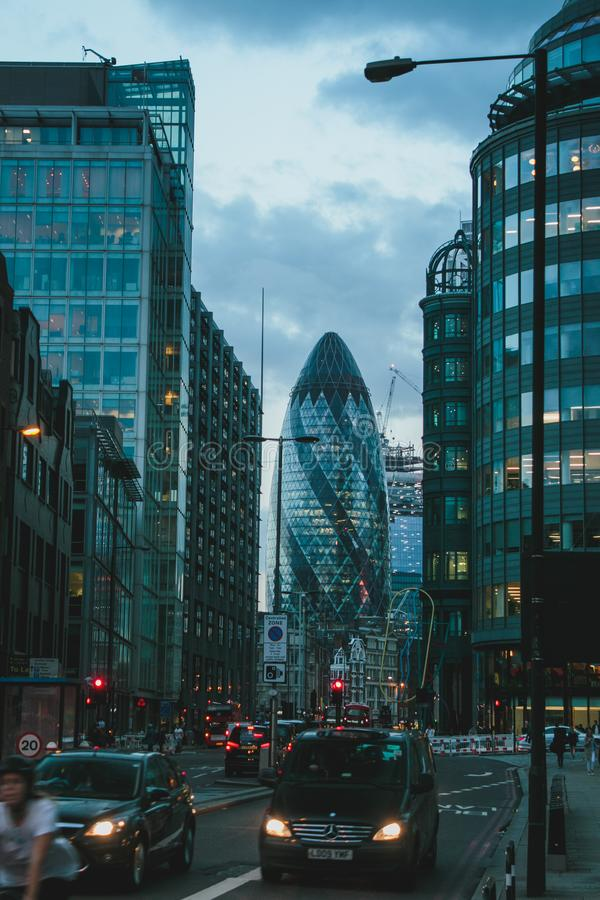 Tunnel View of 30 St Mary Axe at Twilight royalty free stock photos