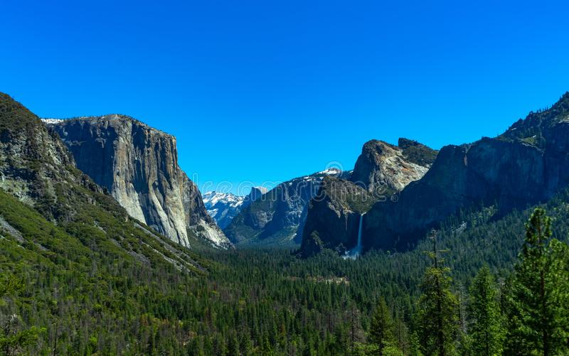 Tunnel view at yosemite national park stock image
