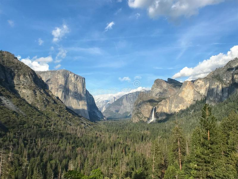 Tunnel View at Yosemite Valley, Yosemite National Park, California, including Bridal Veil Falls, El Capitan and Half Dome stock photo