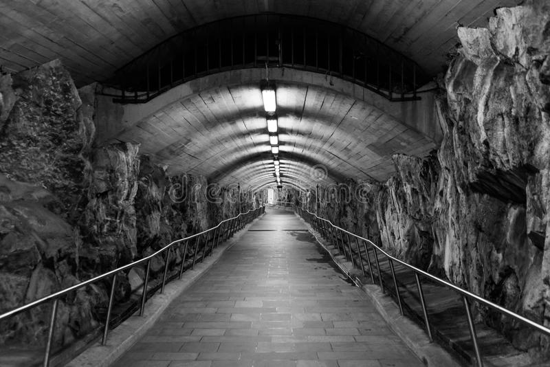 A tunnel walkway royalty free stock photography