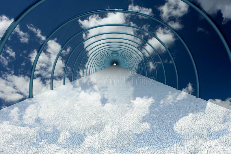 Tunnel in wolken. vector illustratie