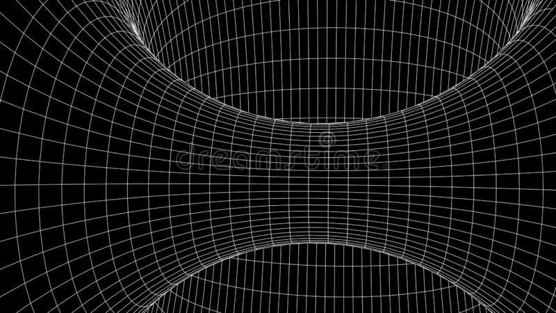 Tunnel or wormhole. Abstract Wormhole Science. 3D tunnel grid.Wireframe 3D surface tunnel.Grid texture stock illustration
