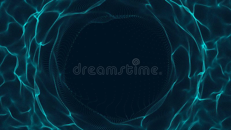 Tunnel or wormhole. Abstract sphere, consisting of points. Space-time portal. 3d rendering vector illustration